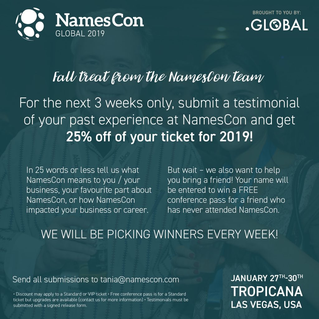 NamesCon 2019 Is Coming With A Halloween Flash Sale Next week