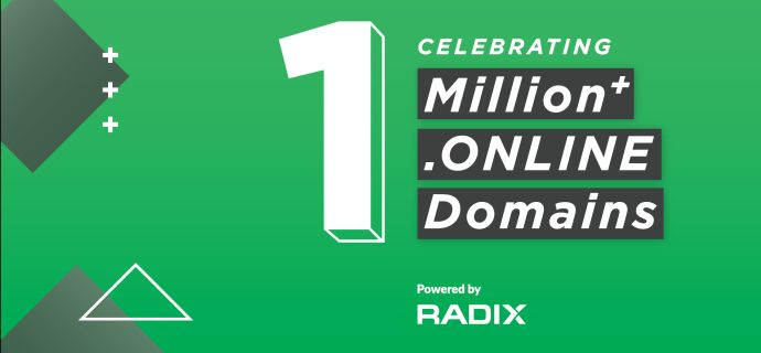 .ONLINE Becomes 5th New gTLD To Pass 1 Million Registrations, and Radix's First